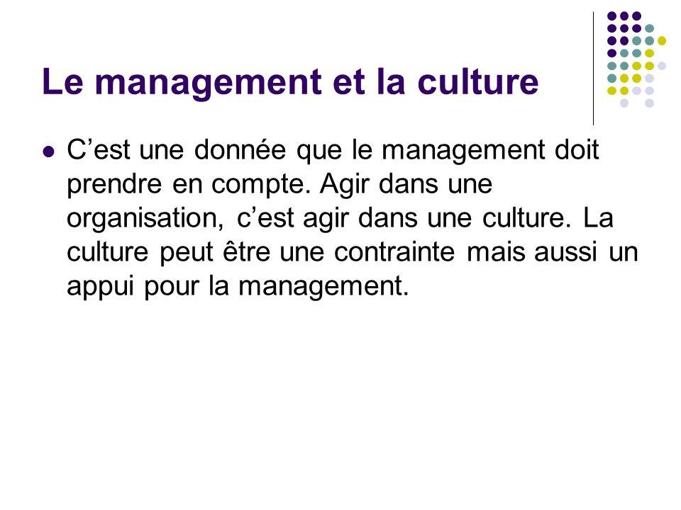 Le management et la culture Cest une donnée que le management doit prendre en compte. Agir dans une organisation, cest agir dans une culture. La cultu