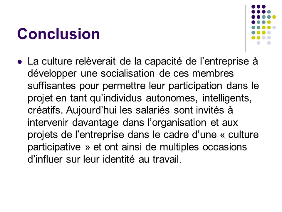 Conclusion La culture relèverait de la capacité de lentreprise à développer une socialisation de ces membres suffisantes pour permettre leur participa