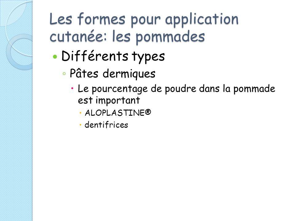 Les formes pour application cutanée: les pommades Différents types Pâtes dermiques Le pourcentage de poudre dans la pommade est important ALOPLASTINE® dentifrices