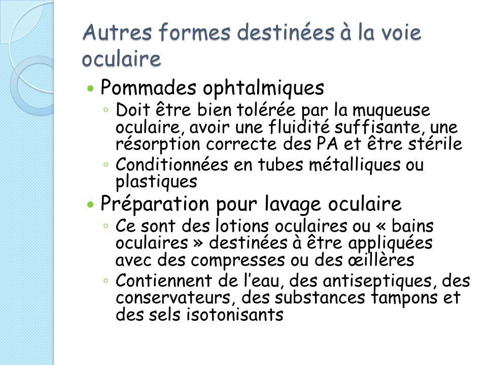 Autres formes destinées à la voie oculaire Pommades ophtalmiques Doit être bien tolérée par la muqueuse oculaire, avoir une fluidité suffisante, une résorption correcte des PA et être stérile Conditionnées en tubes métalliques ou plastiques Préparation pour lavage oculaire Ce sont des lotions oculaires ou « bains oculaires » destinées à être appliquées avec des compresses ou des œillères Contiennent de leau, des antiseptiques, des conservateurs, des substances tampons et des sels isotonisants