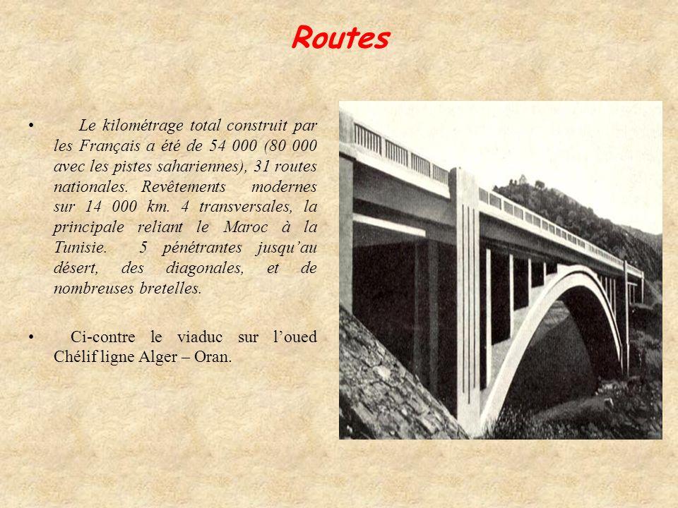 La première ligne fut achevée en 1868, sajoutèrent des tronçons Philippeville-Constantine en 1870, Alger-Constantine en 1887. Une ligne Transsaharienn
