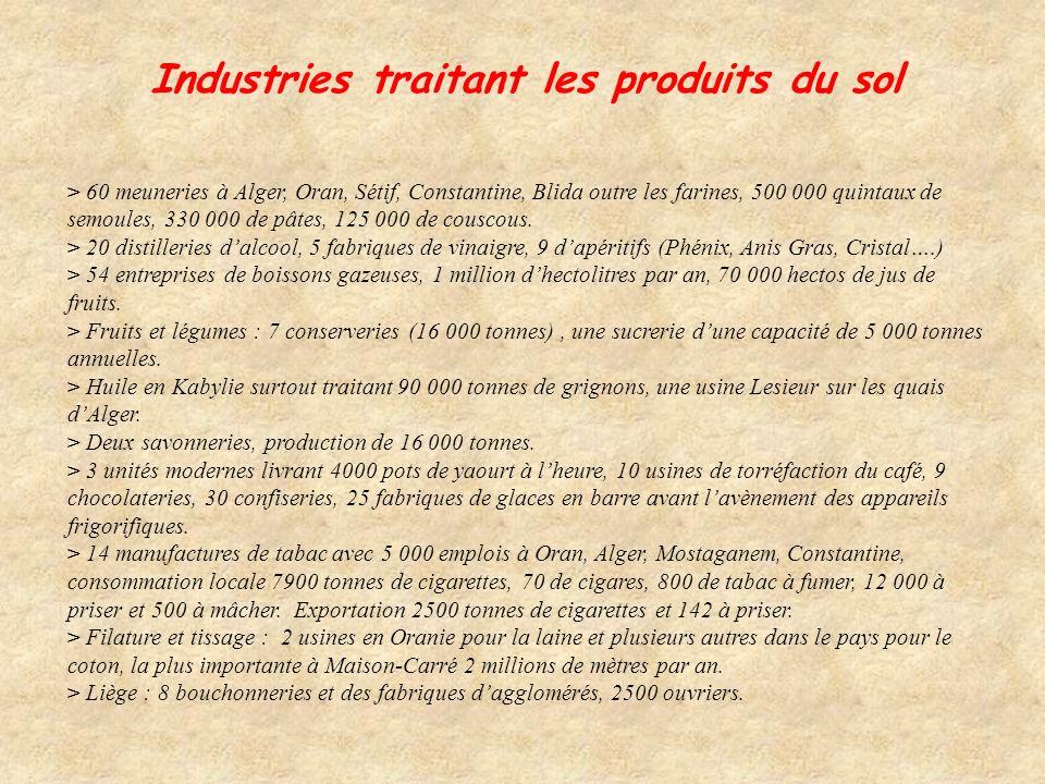 Industries traitant les produits du sol > 60 meuneries à Alger, Oran, Sétif, Constantine, Blida outre les farines, 500 000 quintaux de semoules, 330 000 de pâtes, 125 000 de couscous.