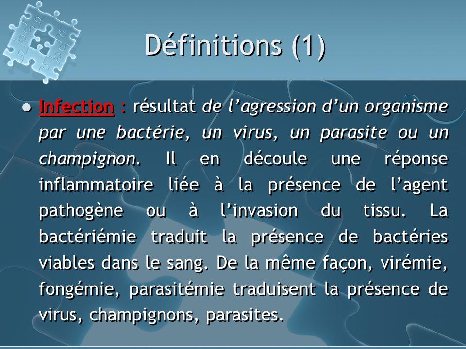 Définitions (1) Infection : résultat de lagression dun organisme par une bactérie, un virus, un parasite ou un champignon. Il en découle une réponse i