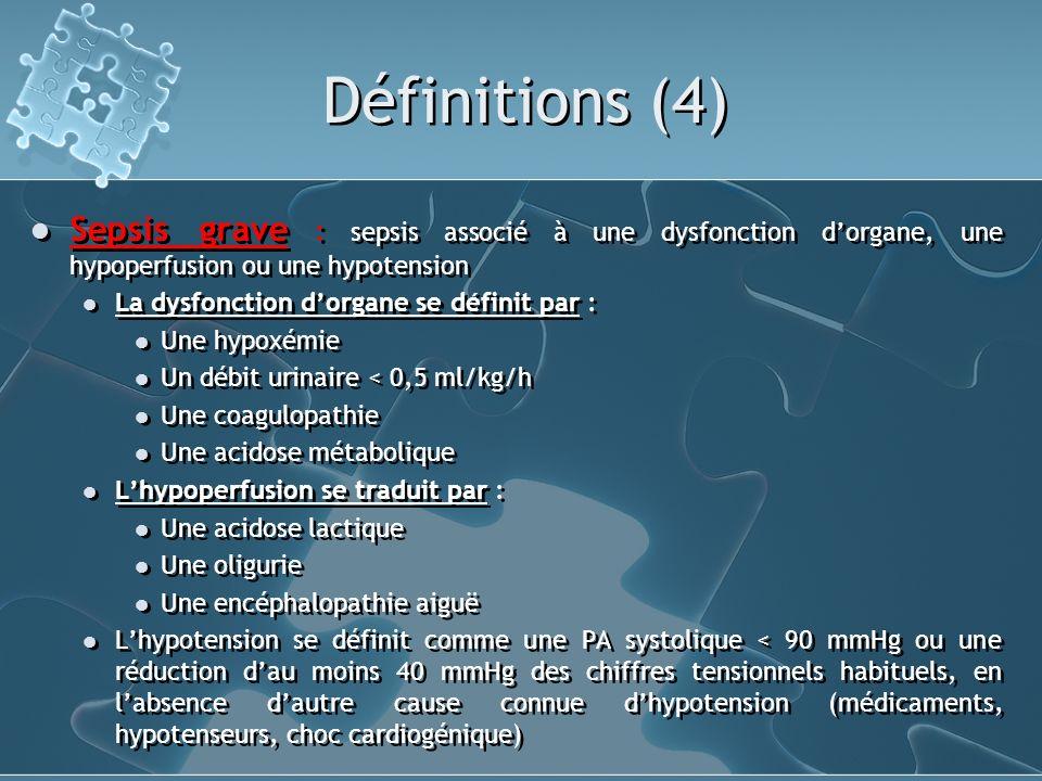 Définitions (5) Choc septique : sepsis associé à une hypotension persistante, malgré un remplissage vasculaire adapté qualitativement et quantitativement, accompagnée ou non de signes dhypoperfusion.