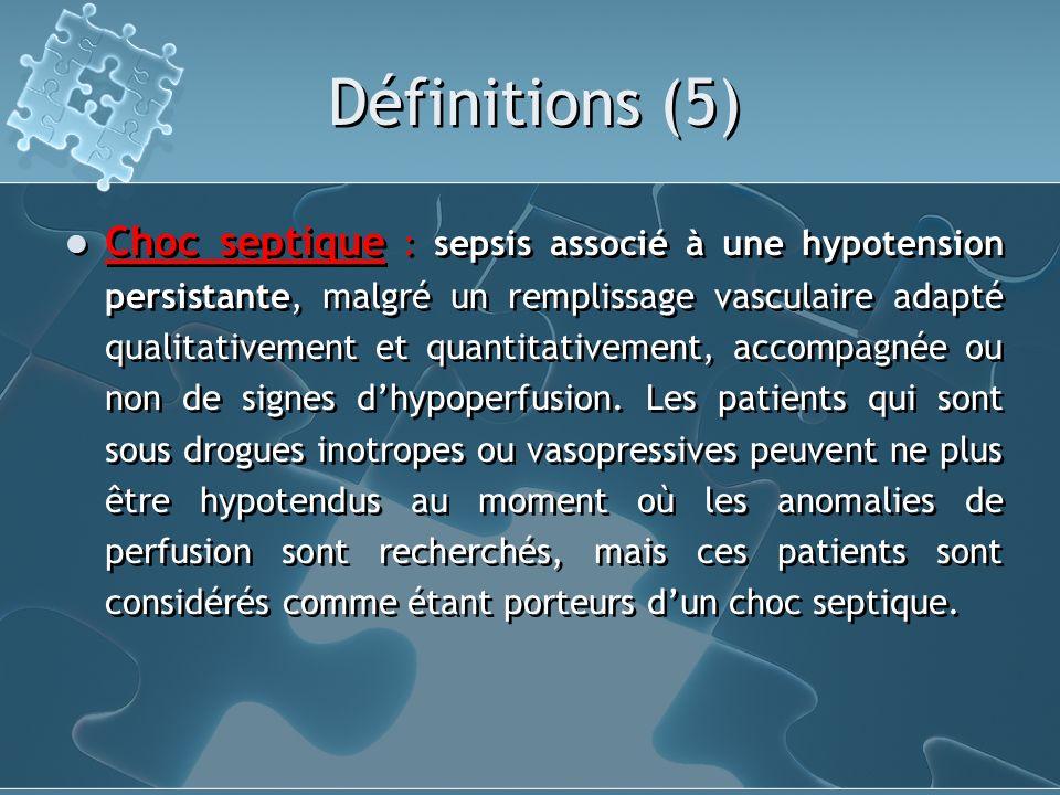 Définitions (5) Choc septique : sepsis associé à une hypotension persistante, malgré un remplissage vasculaire adapté qualitativement et quantitativem