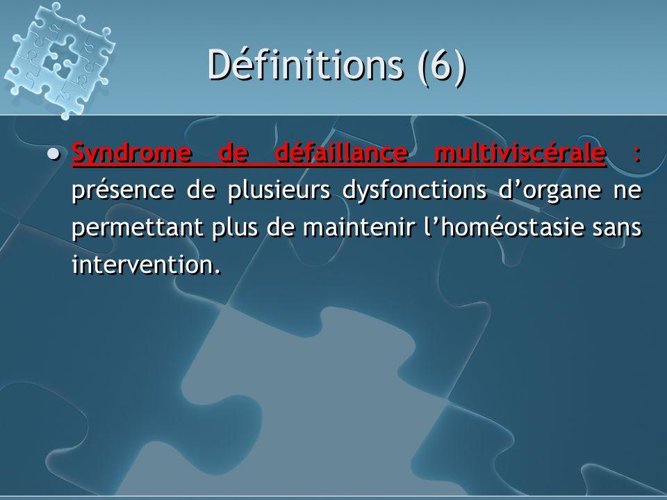 Définitions (6) Syndrome de défaillance multiviscérale : présence de plusieurs dysfonctions dorgane ne permettant plus de maintenir lhoméostasie sans