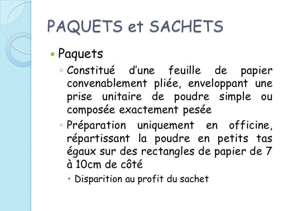 PAQUETS et SACHETS Paquets Constitué dune feuille de papier convenablement pliée, enveloppant une prise unitaire de poudre simple ou composée exacteme