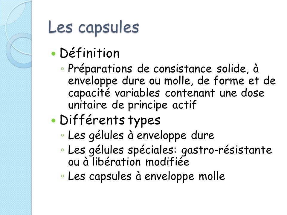 Les capsules Définition Préparations de consistance solide, à enveloppe dure ou molle, de forme et de capacité variables contenant une dose unitaire d