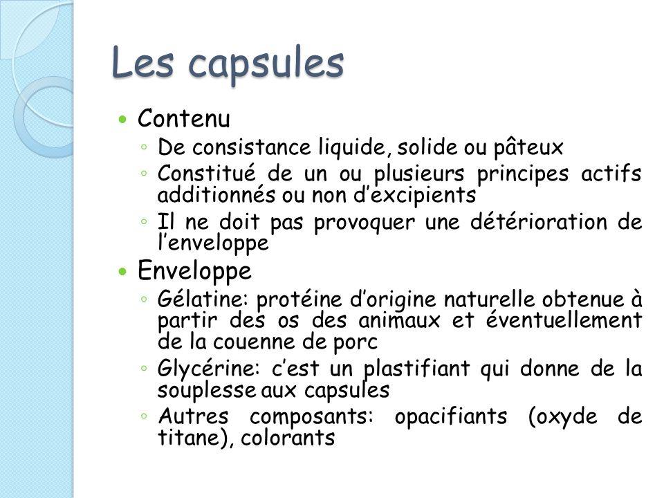 Les capsules Contenu De consistance liquide, solide ou pâteux Constitué de un ou plusieurs principes actifs additionnés ou non dexcipients Il ne doit