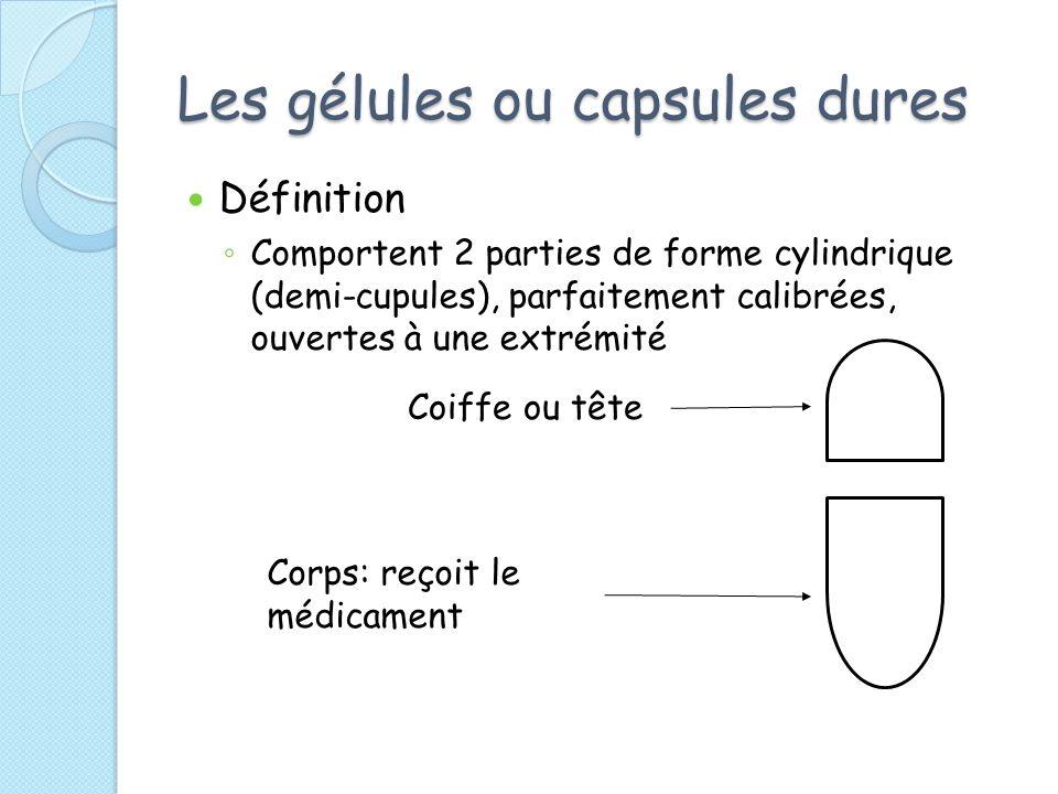 Les gélules ou capsules dures Définition Comportent 2 parties de forme cylindrique (demi-cupules), parfaitement calibrées, ouvertes à une extrémité Co