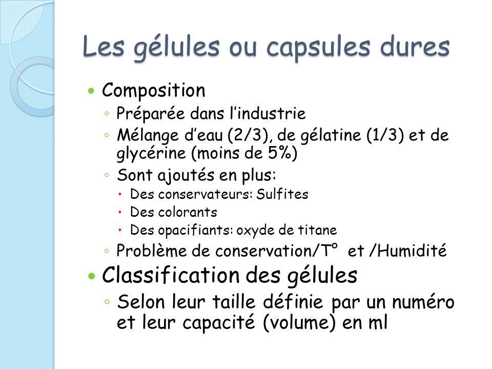 Les gélules ou capsules dures Composition Préparée dans lindustrie Mélange deau (2/3), de gélatine (1/3) et de glycérine (moins de 5%) Sont ajoutés en