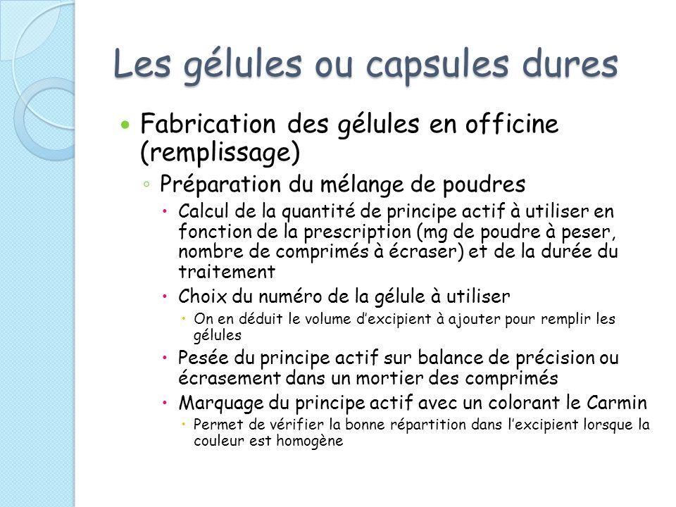 Les gélules ou capsules dures Fabrication des gélules en officine (remplissage) Préparation du mélange de poudres Calcul de la quantité de principe ac