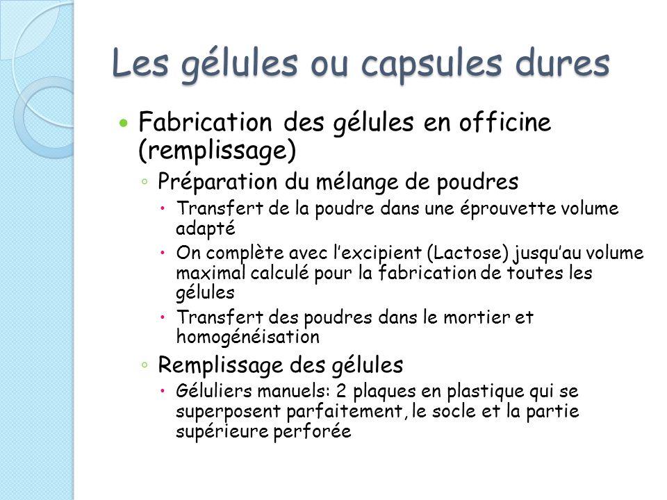 Les gélules ou capsules dures Fabrication des gélules en officine (remplissage) Préparation du mélange de poudres Transfert de la poudre dans une épro