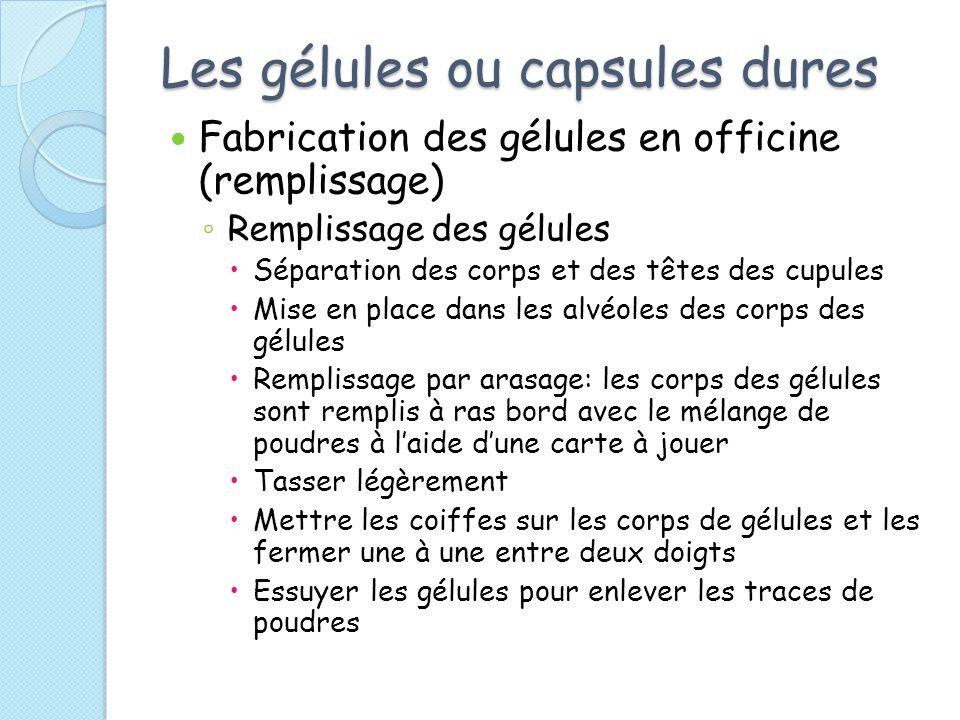 Les gélules ou capsules dures Fabrication des gélules en officine (remplissage) Remplissage des gélules Séparation des corps et des têtes des cupules