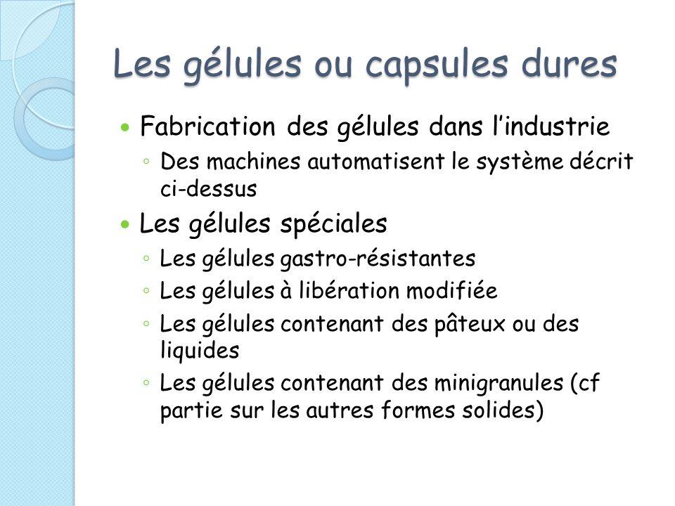 Les gélules ou capsules dures Fabrication des gélules dans lindustrie Des machines automatisent le système décrit ci-dessus Les gélules spéciales Les