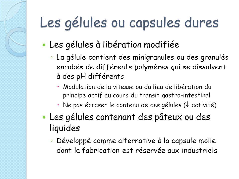 Les gélules ou capsules dures Les gélules à libération modifiée La gélule contient des minigranules ou des granulés enrobés de différents polymères qu