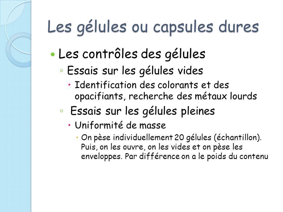 Les gélules ou capsules dures Les contrôles des gélules Essais sur les gélules vides Identification des colorants et des opacifiants, recherche des mé