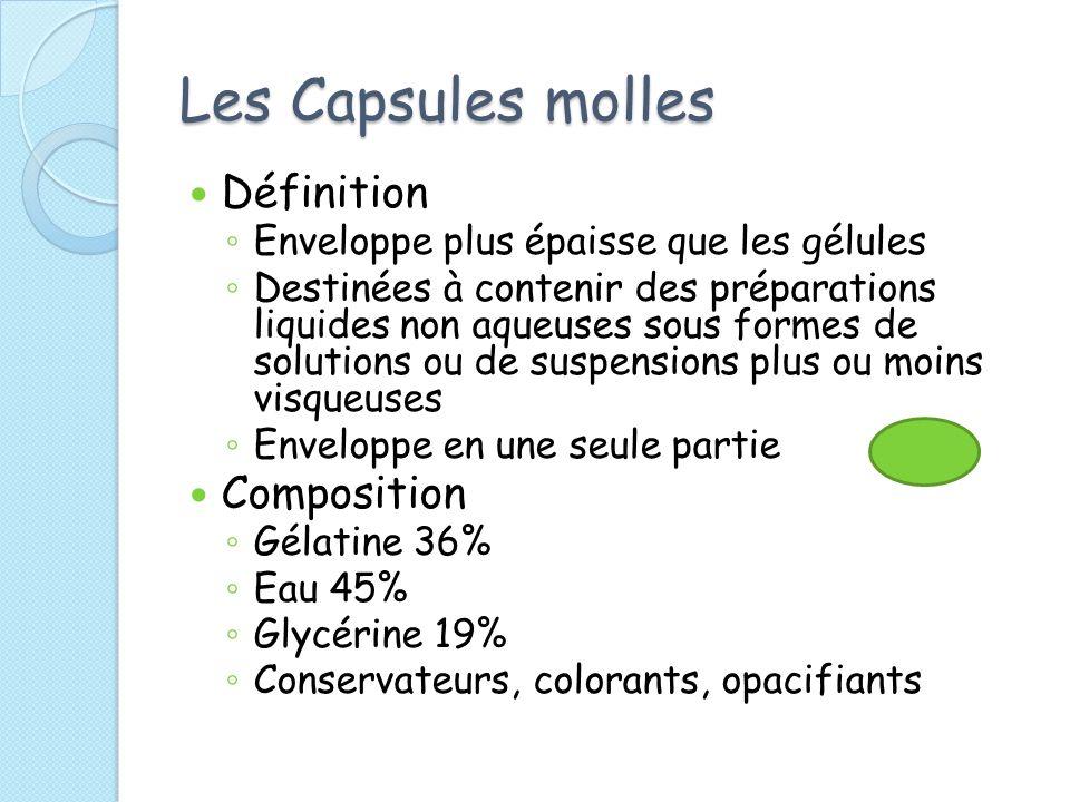 Les Capsules molles Définition Enveloppe plus épaisse que les gélules Destinées à contenir des préparations liquides non aqueuses sous formes de solut