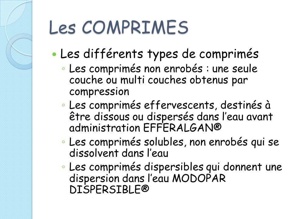 Les COMPRIMES Les différents types de comprimés Les comprimés non enrobés : une seule couche ou multi couches obtenus par compression Les comprimés ef