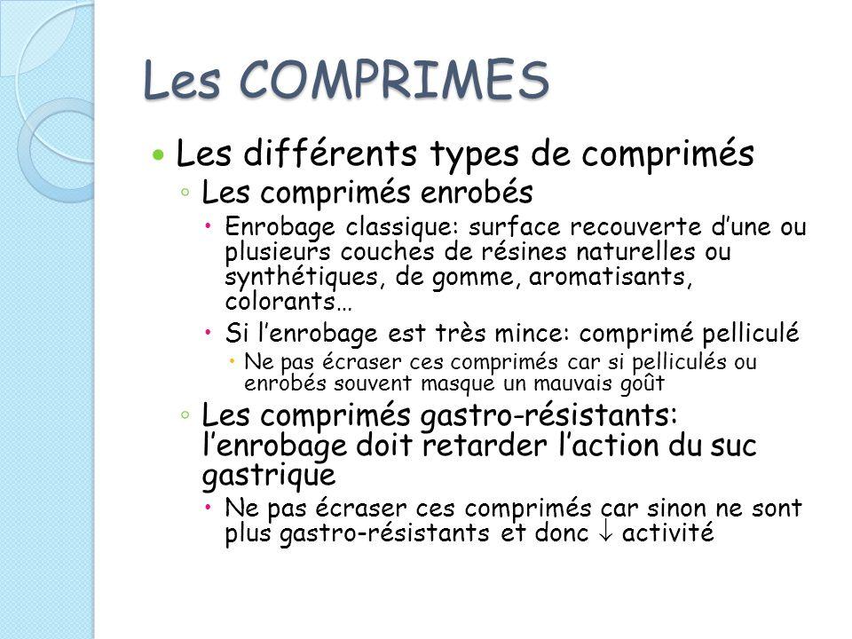 Les COMPRIMES Les différents types de comprimés Les comprimés enrobés Enrobage classique: surface recouverte dune ou plusieurs couches de résines natu