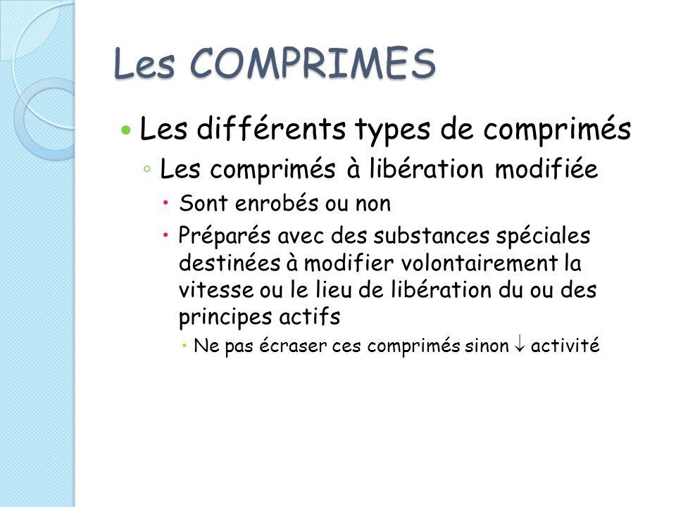 Les COMPRIMES Les différents types de comprimés Les comprimés à libération modifiée Sont enrobés ou non Préparés avec des substances spéciales destiné