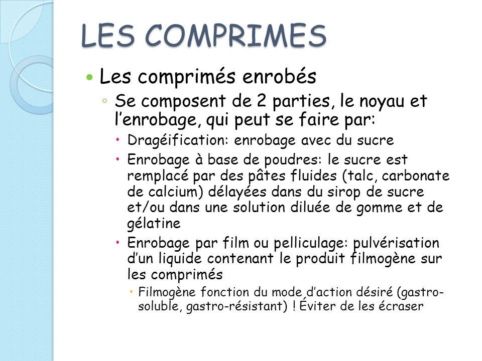 LES COMPRIMES Les comprimés enrobés Se composent de 2 parties, le noyau et lenrobage, qui peut se faire par: Dragéification: enrobage avec du sucre En