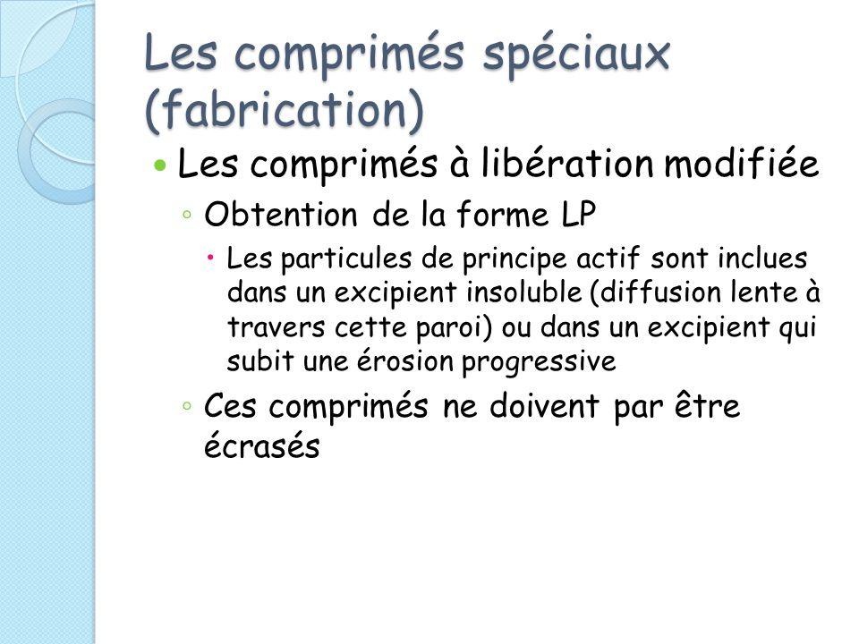 Les comprimés spéciaux (fabrication) Les comprimés à libération modifiée Obtention de la forme LP Les particules de principe actif sont inclues dans u