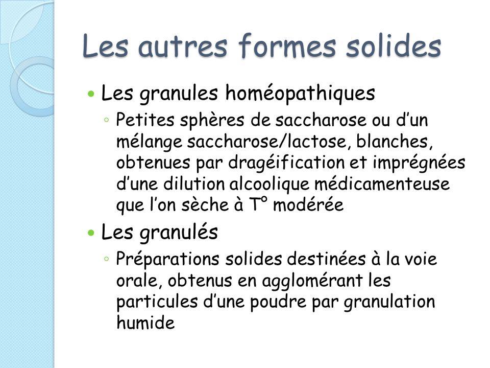 Les autres formes solides Les granules homéopathiques Petites sphères de saccharose ou dun mélange saccharose/lactose, blanches, obtenues par dragéifi