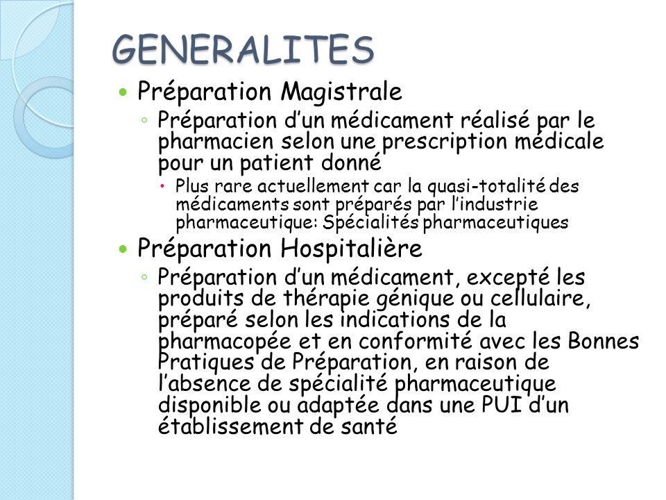 GENERALITES Préparation Magistrale Préparation dun médicament réalisé par le pharmacien selon une prescription médicale pour un patient donné Plus rar