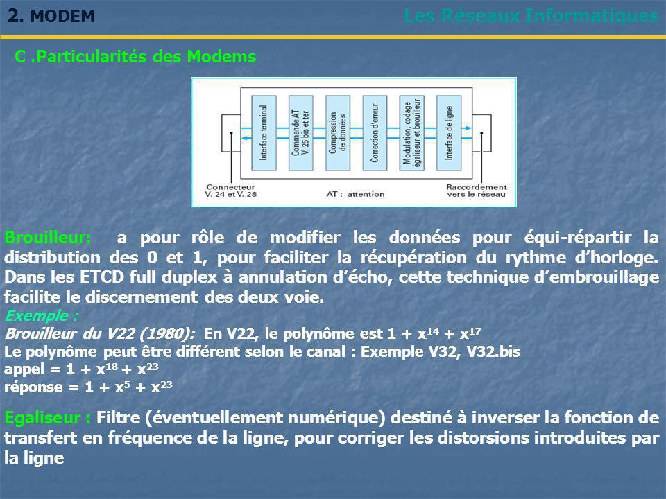 Les Réseaux Informatiques2. MODEM Brouilleur: a pour rôle de modifier les données pour équi-répartir la distribution des 0 et 1, pour faciliter la réc