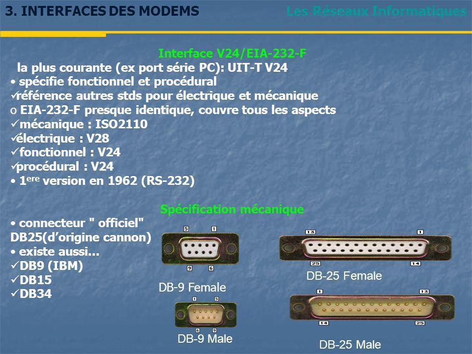 Les Réseaux Informatiques3. INTERFACES DES MODEMS Interface V24/EIA-232-F la plus courante (ex port série PC): UIT-T V24 spécifie fonctionnel et procé