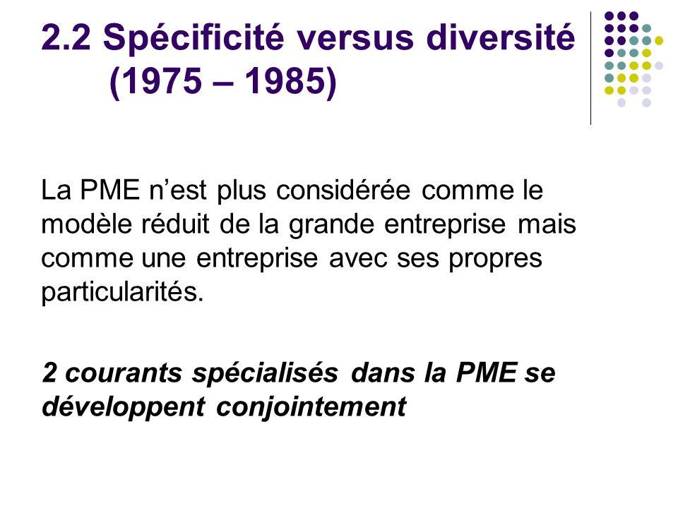 2.2 Spécificité versus diversité (1975 – 1985) La PME nest plus considérée comme le modèle réduit de la grande entreprise mais comme une entreprise av