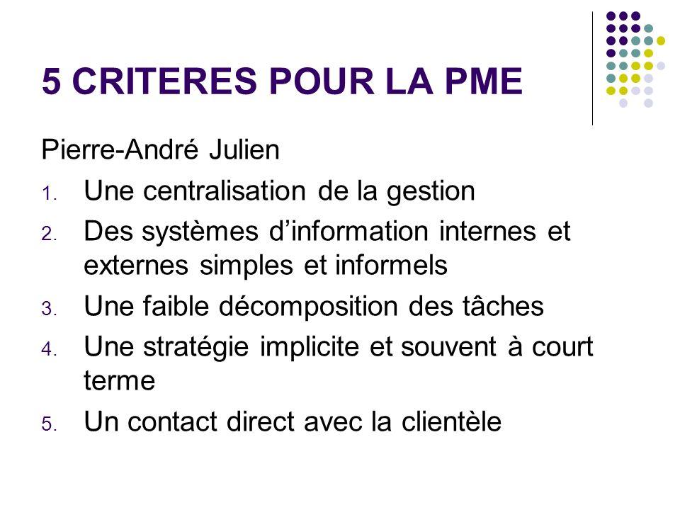 5 CRITERES POUR LA PME Pierre-André Julien 1. Une centralisation de la gestion 2. Des systèmes dinformation internes et externes simples et informels
