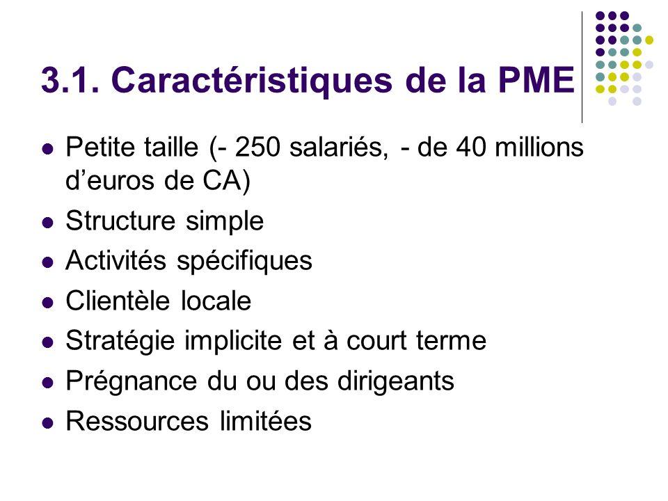3.1. Caractéristiques de la PME Petite taille (- 250 salariés, - de 40 millions deuros de CA) Structure simple Activités spécifiques Clientèle locale