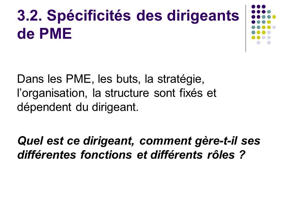 3.2. Spécificités des dirigeants de PME Dans les PME, les buts, la stratégie, lorganisation, la structure sont fixés et dépendent du dirigeant. Quel e