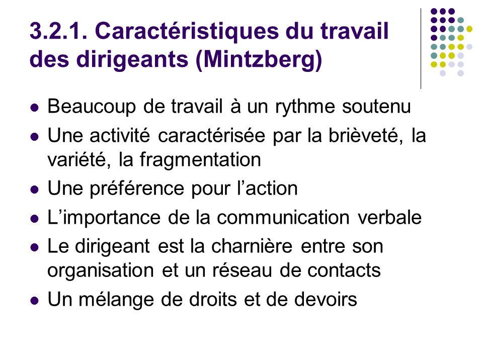 3.2.1. Caractéristiques du travail des dirigeants (Mintzberg) Beaucoup de travail à un rythme soutenu Une activité caractérisée par la brièveté, la va