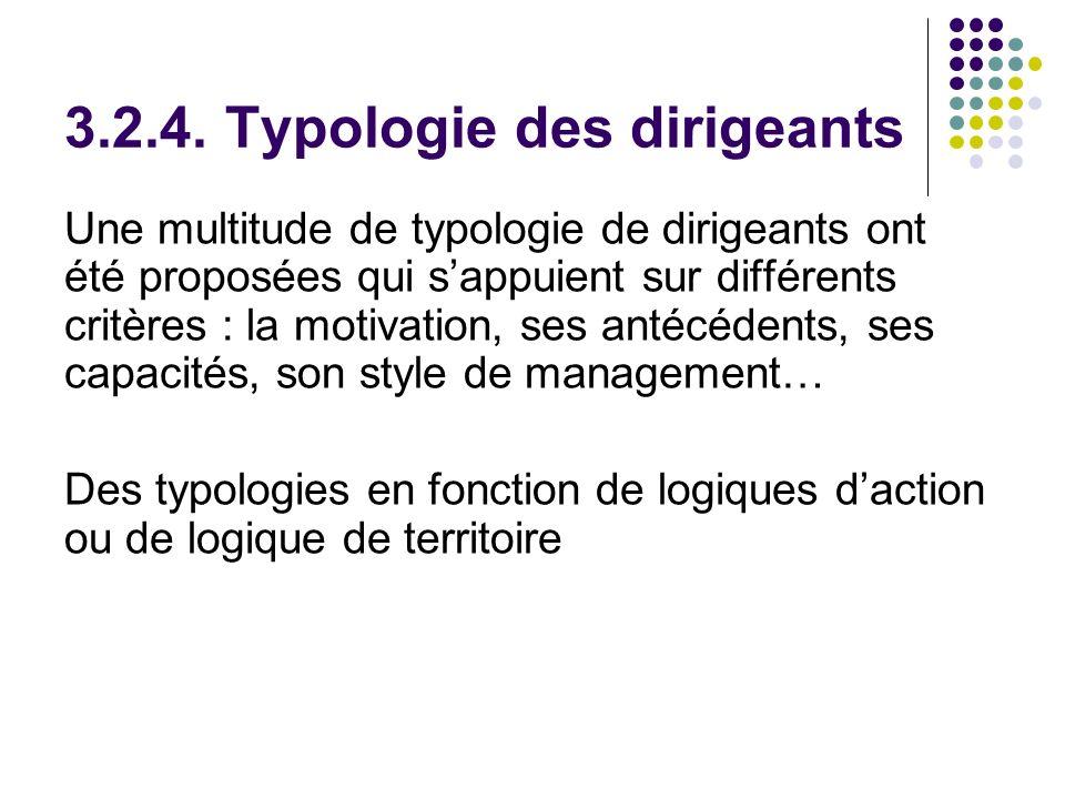 3.2.4. Typologie des dirigeants Une multitude de typologie de dirigeants ont été proposées qui sappuient sur différents critères : la motivation, ses