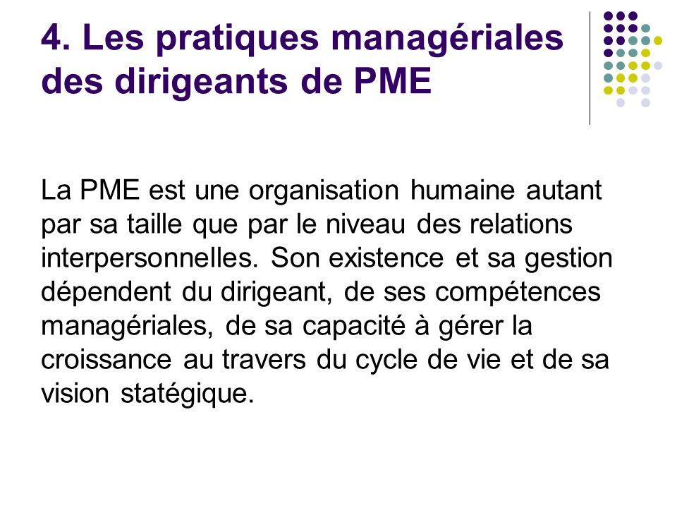 4. Les pratiques managériales des dirigeants de PME La PME est une organisation humaine autant par sa taille que par le niveau des relations interpers