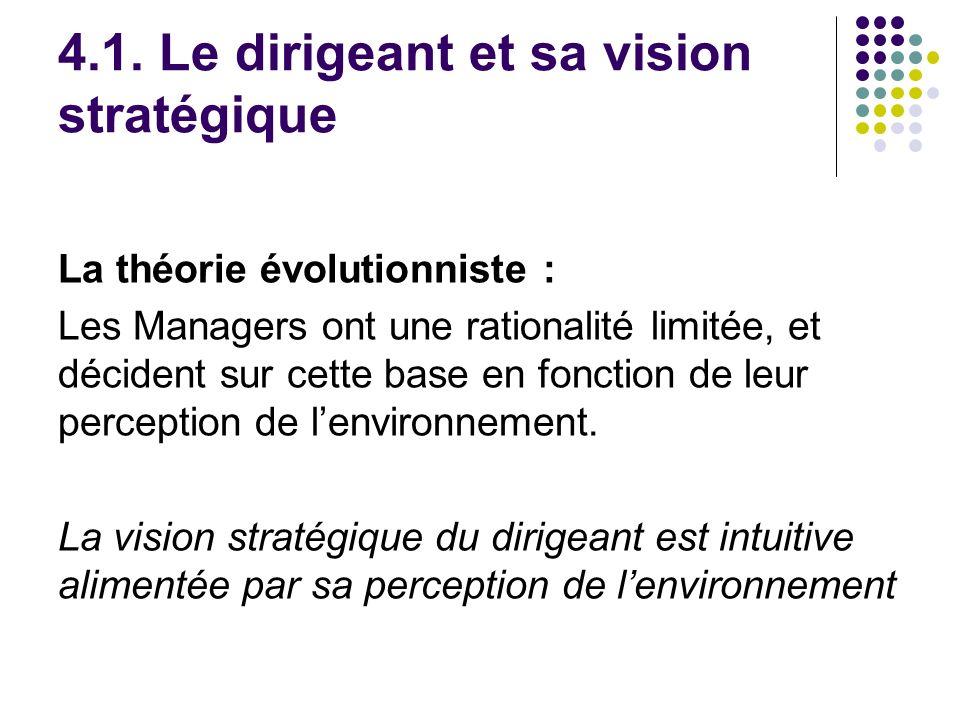 4.1. Le dirigeant et sa vision stratégique La théorie évolutionniste : Les Managers ont une rationalité limitée, et décident sur cette base en fonctio