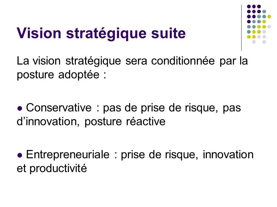 Vision stratégique suite La vision stratégique sera conditionnée par la posture adoptée : Conservative : pas de prise de risque, pas dinnovation, post