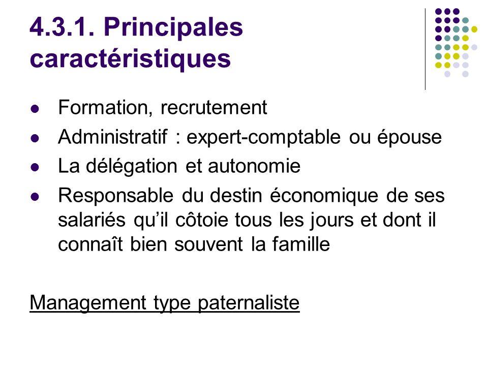 4.3.1. Principales caractéristiques Formation, recrutement Administratif : expert-comptable ou épouse La délégation et autonomie Responsable du destin