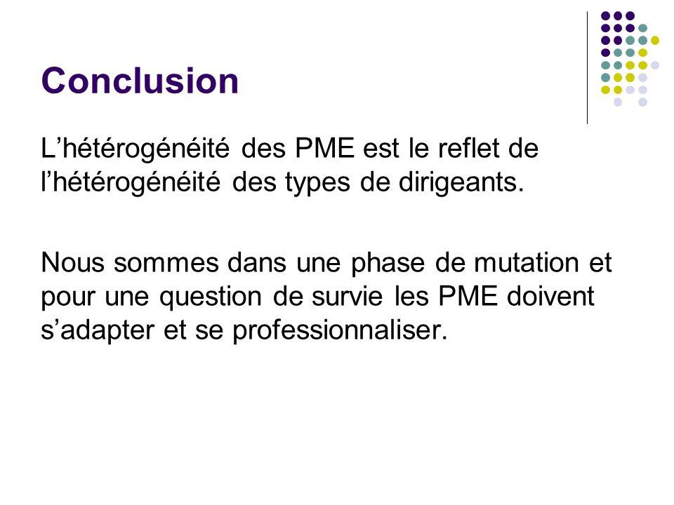 Conclusion Lhétérogénéité des PME est le reflet de lhétérogénéité des types de dirigeants. Nous sommes dans une phase de mutation et pour une question