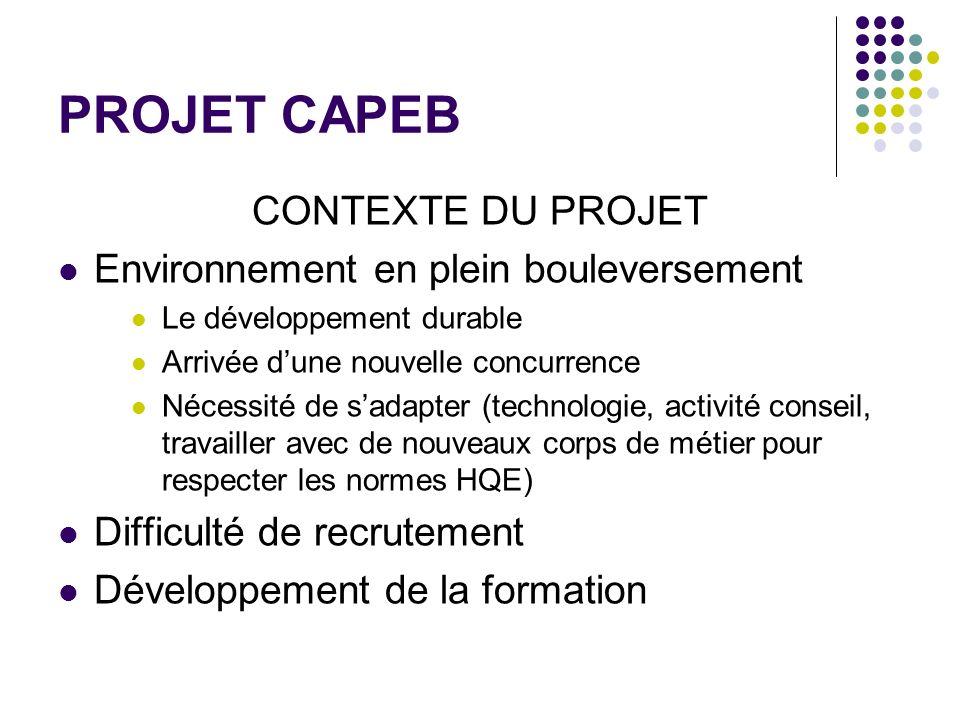 PROJET CAPEB CONTEXTE DU PROJET Environnement en plein bouleversement Le développement durable Arrivée dune nouvelle concurrence Nécessité de sadapter