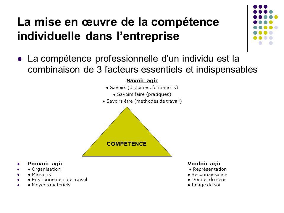 La mise en œuvre de la compétence individuelle dans lentreprise La compétence professionnelle dun individu est la combinaison de 3 facteurs essentiels