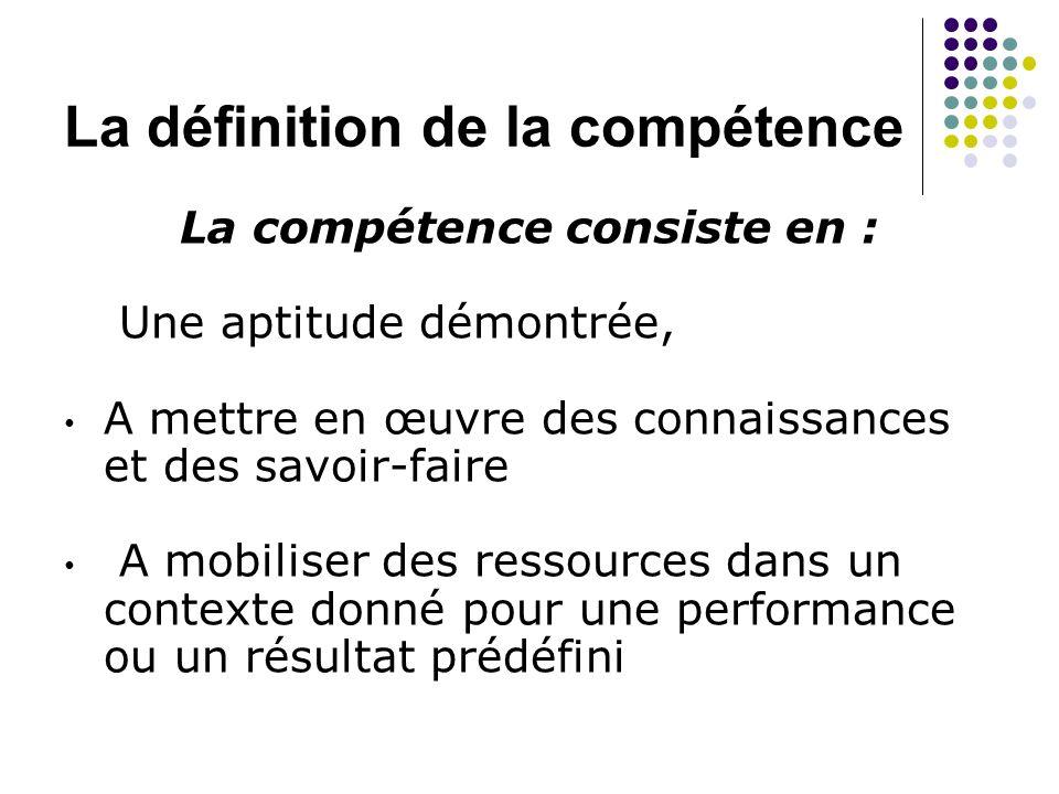 La définition de la compétence La compétence consiste en : Une aptitude démontrée, A mettre en œuvre des connaissances et des savoir-faire A mobiliser