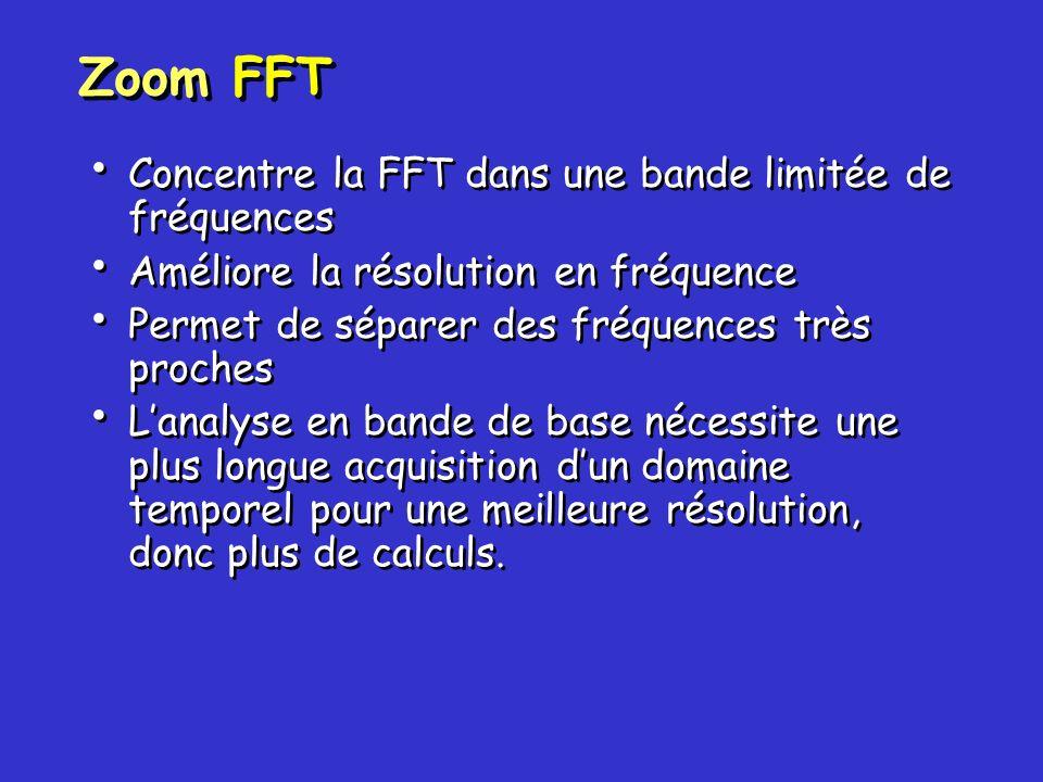 Concentre la FFT dans une bande limitée de fréquences Améliore la résolution en fréquence Permet de séparer des fréquences très proches Lanalyse en ba
