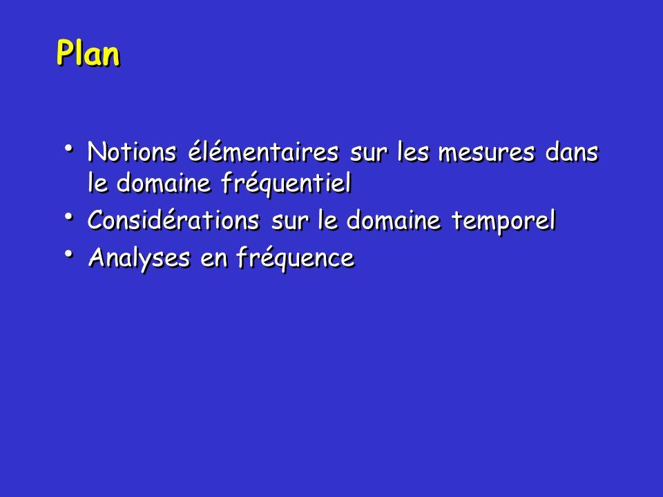 Plan Notions élémentaires sur les mesures dans le domaine fréquentiel Considérations sur le domaine temporel Analyses en fréquence Notions élémentaire