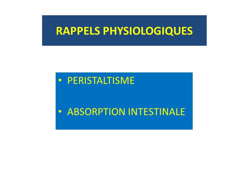 RAPPELS PHYSIOLOGIQUES PERISTALTISME ABSORPTION INTESTINALE
