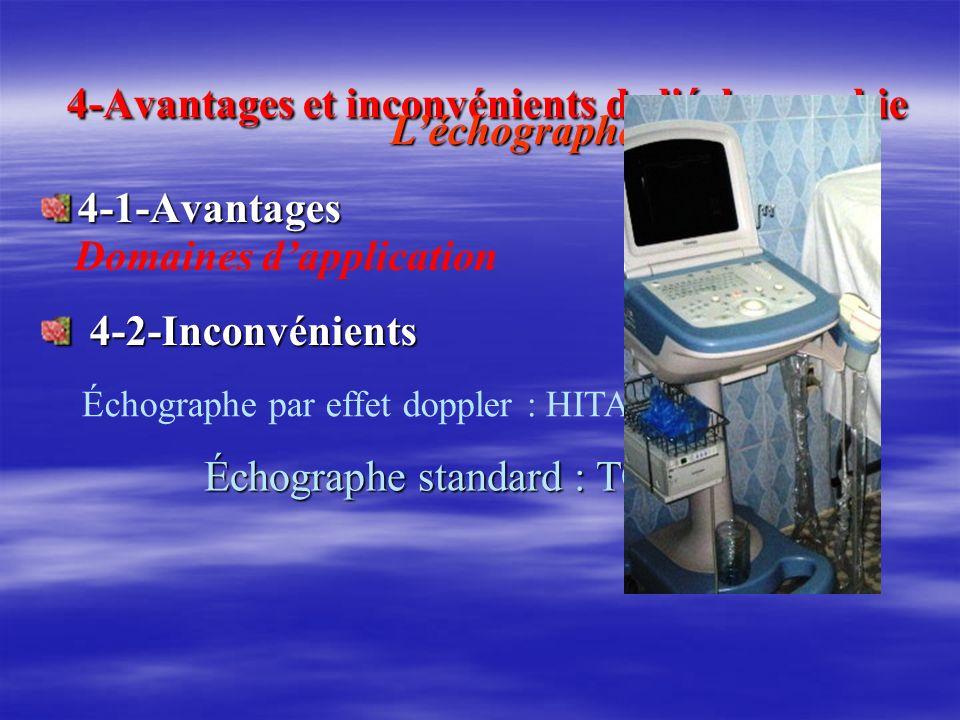 4-Avantages et inconvénients de l'échographie 4-Avantages et inconvénients de l'échographie 4-1-Avantages 4-1-Avantages 4-2-Inconvénients 4-2-Inconvén