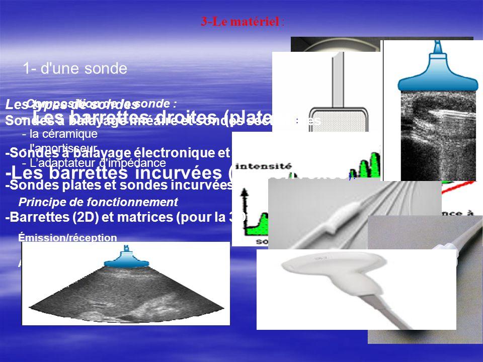 3-Le matériel : 1- d'une sonde Composition de la sonde : - la céramique - l'amortisseur - Ladaptateur d'impédance Principe de fonctionnement Émission/